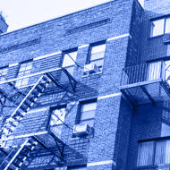 Building with fire escapes on the facade